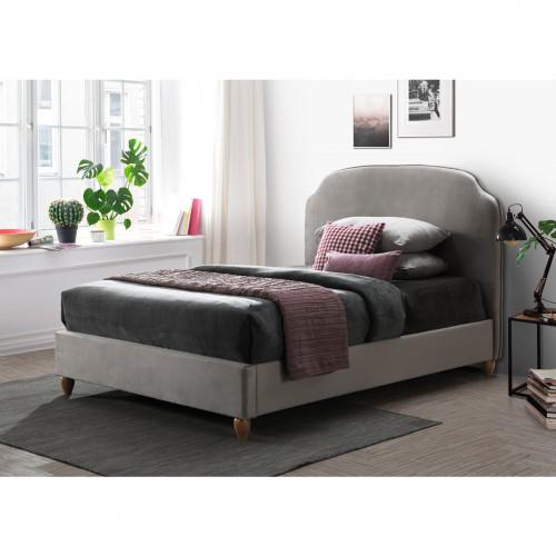 מיטה זוגית 140x190 מרופדת בד קטיפתי עם רגלי עץ מלא דגם רימון