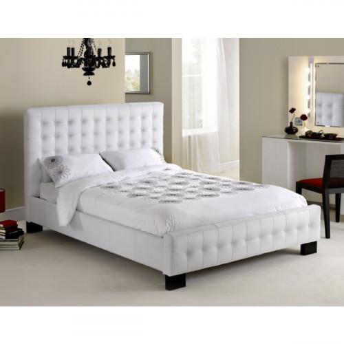 מיטה ברוחב וחצי מעור אמיתי דגם CHRISTINA לבן