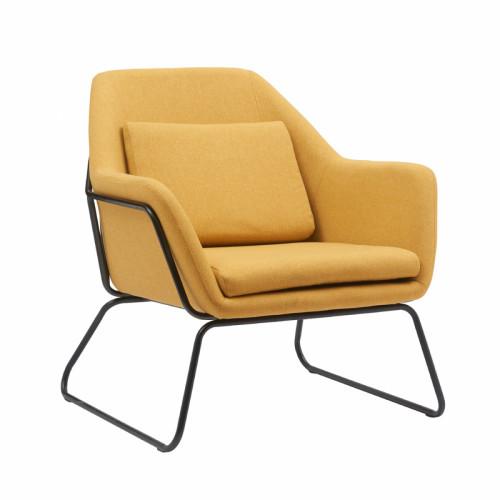 כורסא מעוצבת עם רגלי ברזל דגם ברייטון צהוב-חרדל