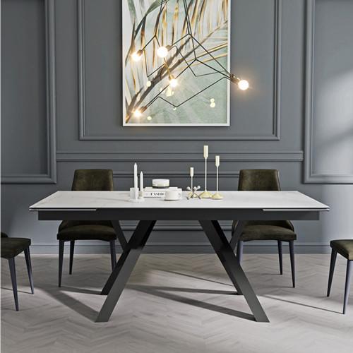 שולחן אוכל קרמיקה מפואר באורך 1.8 מ' נפתח ל- 2.6 מ' עם רגלי מתכת דגם מדריד