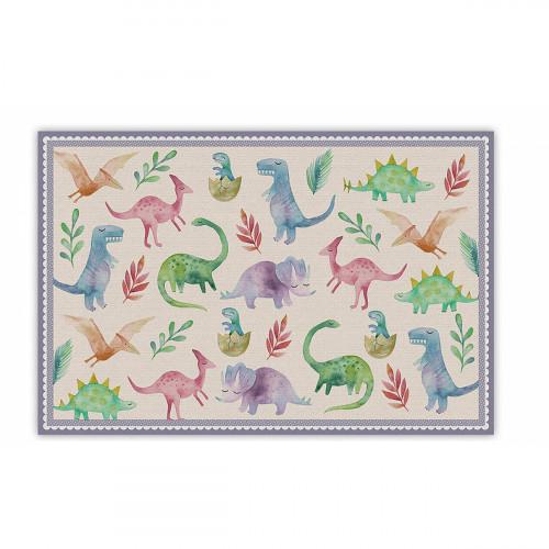 שטיח פיויסי דינוזאורים במסגרת סגולה לילדים - במגוון מידות