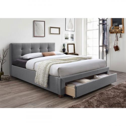 מיטה זוגית מרופדת עם מגירת אחסון מצעים המתאימה למזרון 160/200 דגם סרינה
