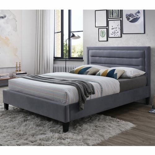 מיטת נוער (מיטה ברוחב וחצי) מרופדת בד קטיפתי המתאימה למזרן 120/190, דגם פונט