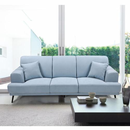 ספה תלת מושבית מעוצבת עם ריפוד דוחה נוזלים דגם סטנלי תכלת