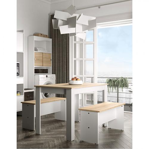 פינת אוכל כוללת שולחן וזוג ספסלים NICE PLUS לבן עם אלון