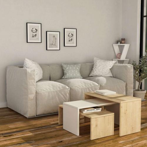 שולחן סלון Kanta אלון/לבן מסדרת Decoline