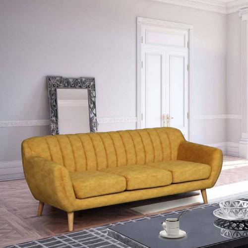ספה תלת מושבית מעוצבת עם קפיצים מבודדים ובד רחיץ דגם פורטו חרדל