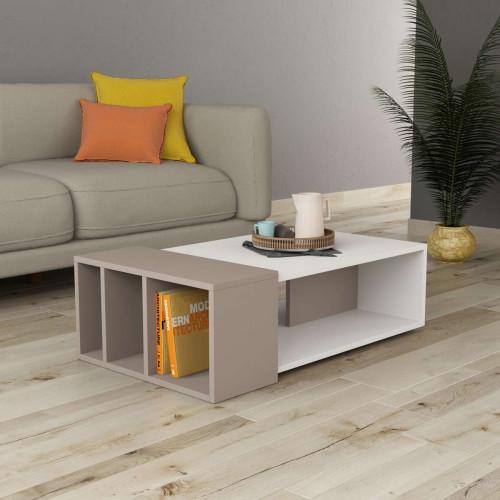 שולחן סלון Anita לבן/מוקה מסדרת Decoline