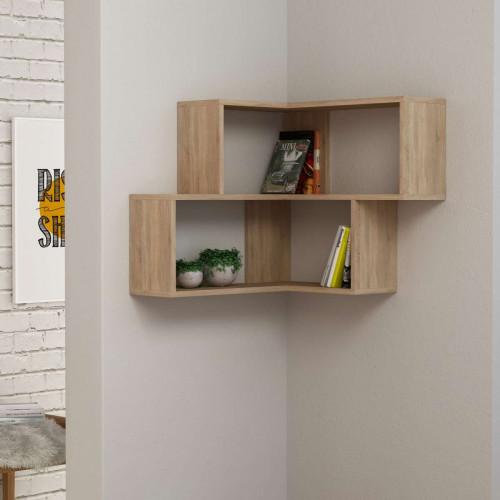 כוורת מדפים Corner Shelf אלון מסדרת Decoline