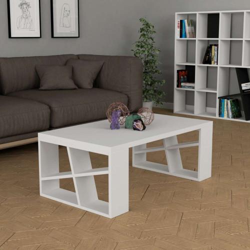 שולחן סלון Honey Coffee Table לבן מסדרת Decoline