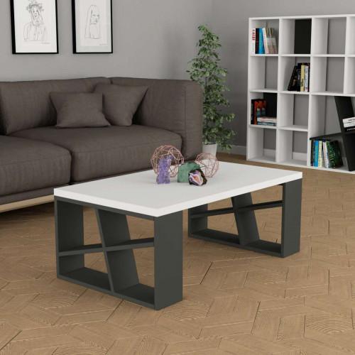 שולחן סלון Honey Coffee Table אפור/לבן מסדרת Decoline