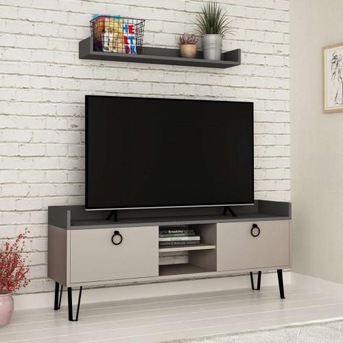 מזנון טלוויזיה עם מדף Keday מוקה/אפור 140 ס
