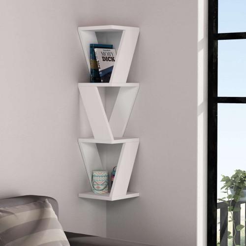 כוורת לתלייה Zena Corner Bookcase לבן מסדרת Decoline