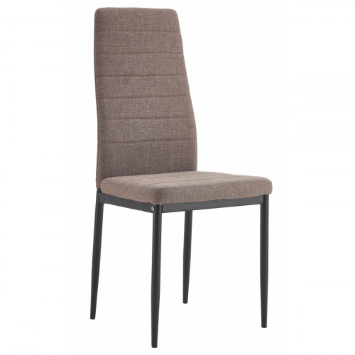 כסא לפינת אוכל מרופד דגם EVORA בד אריג חום בהיר