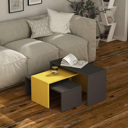 שולחן סלון Kanta אפור/צהוב מסדרת Decoline