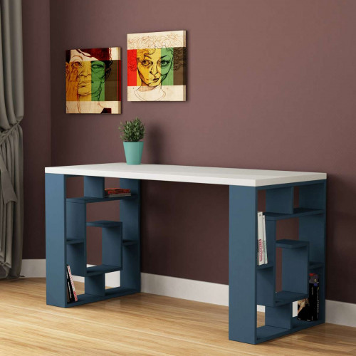שולחן כתיבה Labirent Working table טורקיז/לבן מסדרת Decoline