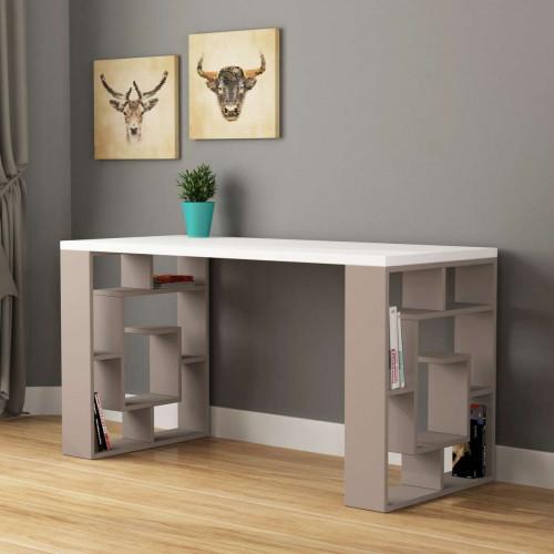 שולחן כתיבה Labirent Working table מוקה/לבן מסדרת Decoline