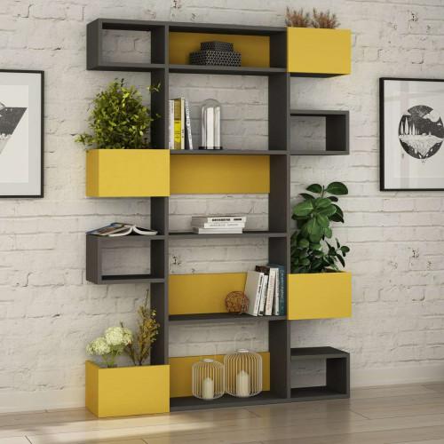כוננית Niho Bookcase אפור/צהוב מסדרת Decoline