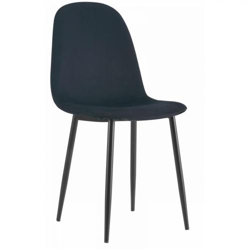 רביעיית כסאות דגם SOLNA בד קטיפתי שחור X4