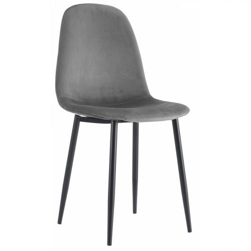 רביעיית כסאות דגם SOLNA בד קטיפתי אפור X4
