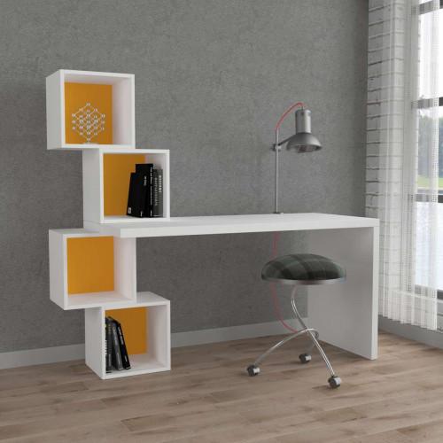 שולחן כתיבה Balance Working table לבן/צהוב מסדרת Decoline
