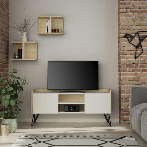 מזנון טלוויזיה KlappeTV לבן/אלון 125ס