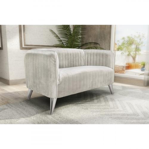 ספה דו מושבית מעוצבת בריפוד בד קטיפה דגם בריסל קרם
