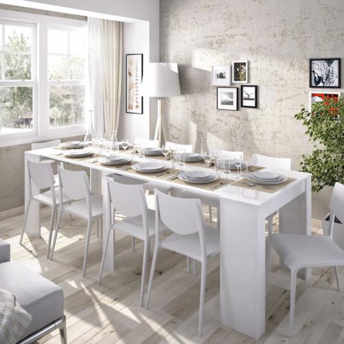 שולחן אוכל קונסולה נפתחת עם אחסון תוצרת ספרד דגם קיאנו לבן