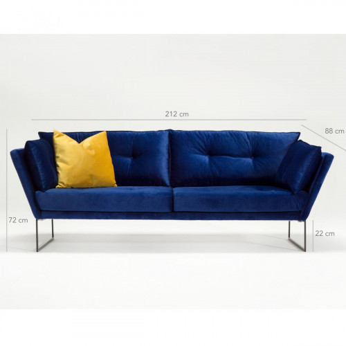ספה תלת Relax בד קטיפטי כחול מסדרת Mezza