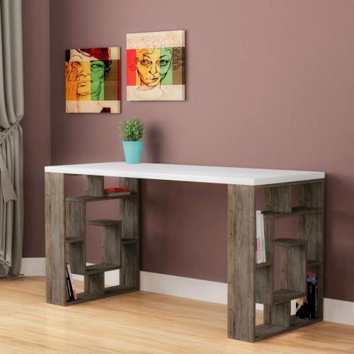 שולחן כתיבה Labirent Working table לבן/קפה מסדרת Decoline