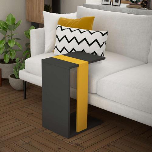 שולחן צד Zetti אפור/צהוב מסדרת Decoline