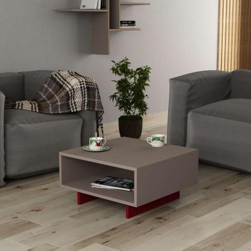 שולחן סלון Hola מוקה/אדום מסדרת Decoline
