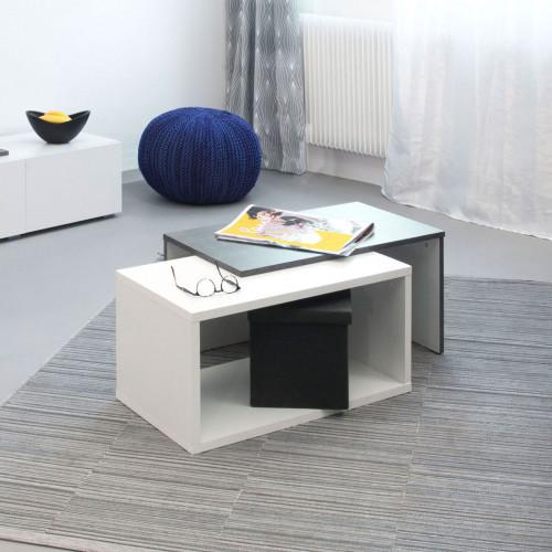 שולחן סלון מודולרי BOX לבן עם בטון