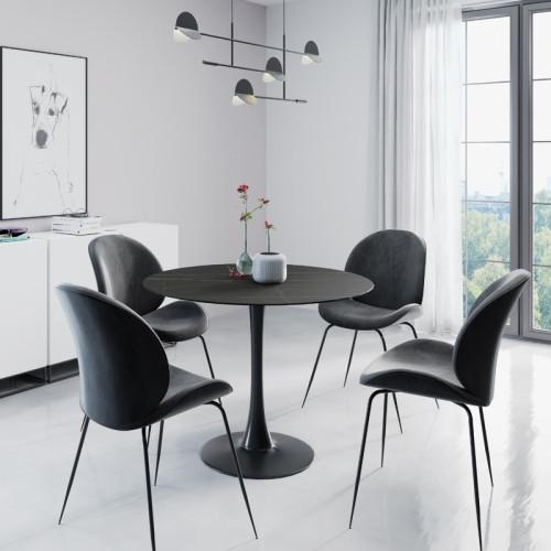פינת אוכל עגולה עם שולחן פלטת אבן ייחודית ו-4 כסאות מרופדים  דגם שפילד-אגם