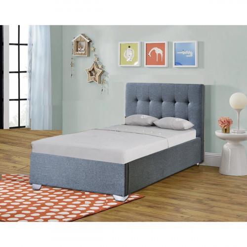 מיטת יחיד מרופדת בד עם ארגז מצעים מעץ מתאימה למזרן 90/190  דגם נועם