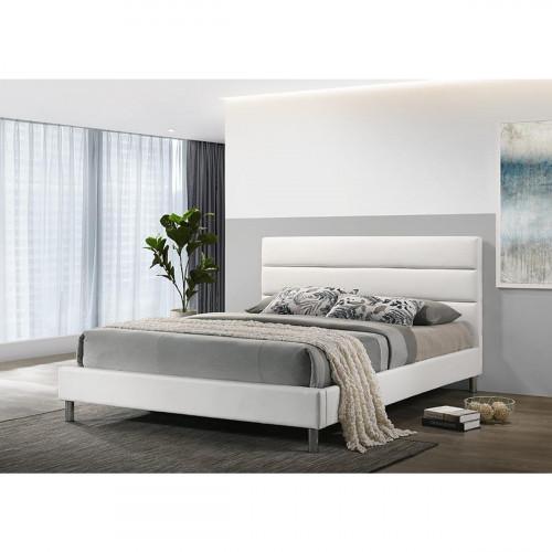 מיטה זוגית מעוצבת בריפוד דמוי עור לבן 160/200 דגם דניס