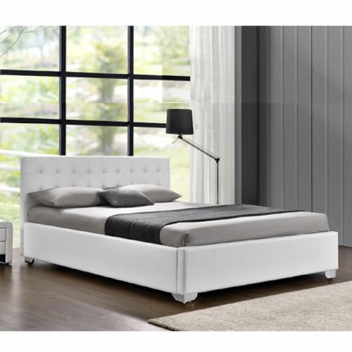 מיטה זוגית מעוצבת בריפוד דמוי עור לבן עם ארגז מצעים מעץ המתאימה למזרון 160/200 דגם לורי