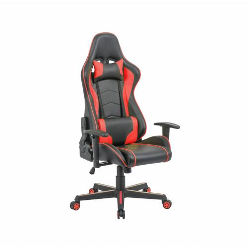כיסא פרו-גיימר נוח לישיבה ממושכת בעל משענת גב נוחה וגבוהה במיוחד לבית או למשרד שחור-אדום