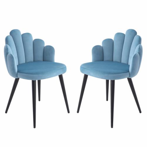 זוג כיסאות צדפה מעוצבים עם בד קטיפה ורגלי מתכת  דגם דייזי תכלת