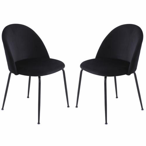 זוג כסאות מרופדים לפינת אוכל דגם תובל שחור– משלוח חינם!