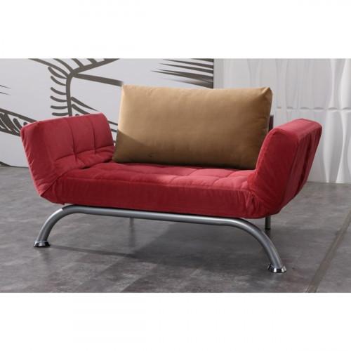 ספה דו מושבית נפתחת למיטת יחיד בצבע אדום S035