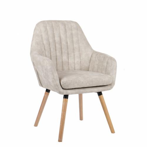 כורסא מעוצבת עם רגלי עץ מלא דגם דנבר קרם