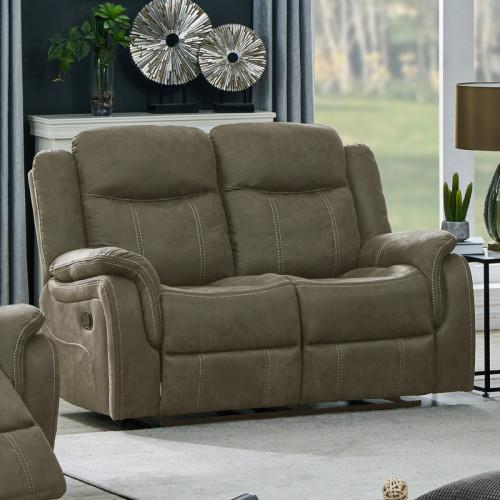 ספה דו מושבית מבד עם 2 הדומים נשלפים דגם אוליביה גוון קפוצינו