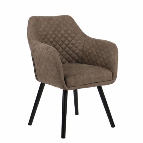 כורסא מעוצבת עם רגלי עץ מלא דגם יוסטון קפוצ'ינו