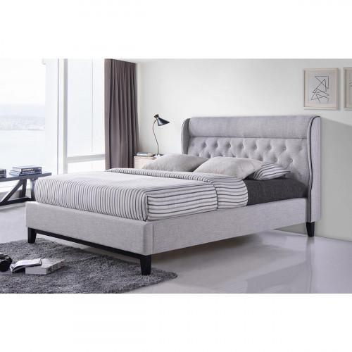 מיטה זוגית מעוצבת בריפוד בד עם רגלי עץ מתאימה למזרן 140/190  דגם פיונה