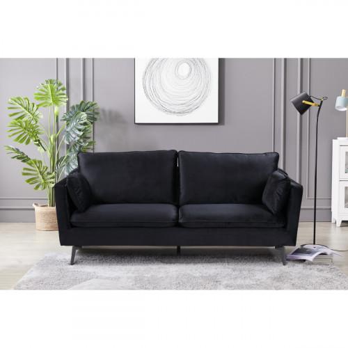 ספה תלת מושבית מעוצבת עם קפיצים מבודדים ובד קטיפה דגם רותם שחור