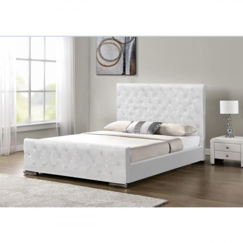 מיטה זוגית מעוצבת ומרופדת בציפוי דמוי עור לבן המתאימה למזרון 160/200 דגם לורד