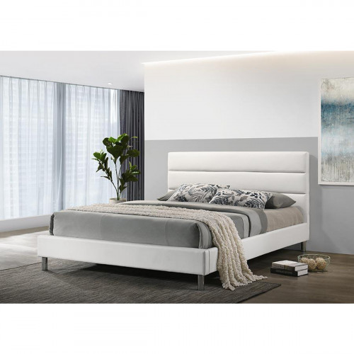 מיטה זוגית מעוצבת בריפוד דמוי עור לבן 140X190 דגם דניס