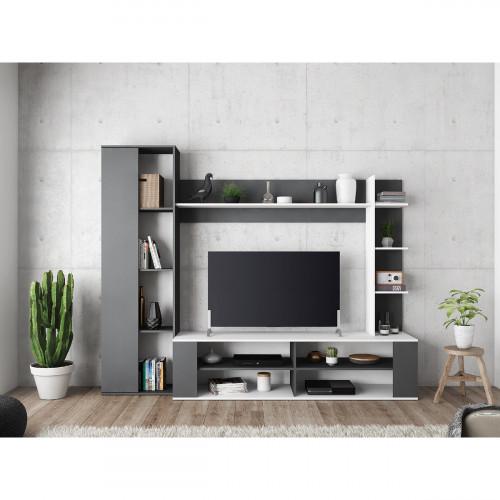 מערכת קיר לסלון עם מקום אחסון רב ופתח לטלוויזיה תוצרת צרפת דגם קפיטל