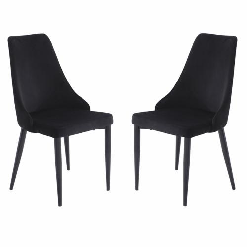 זוג כסאות מרופדים לפינת אוכל דגם ליאן שחור – משלוח חינם!